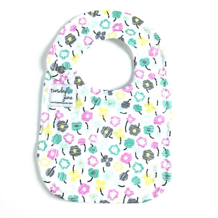 Bloom – Teal Petite Posy Baby Bib