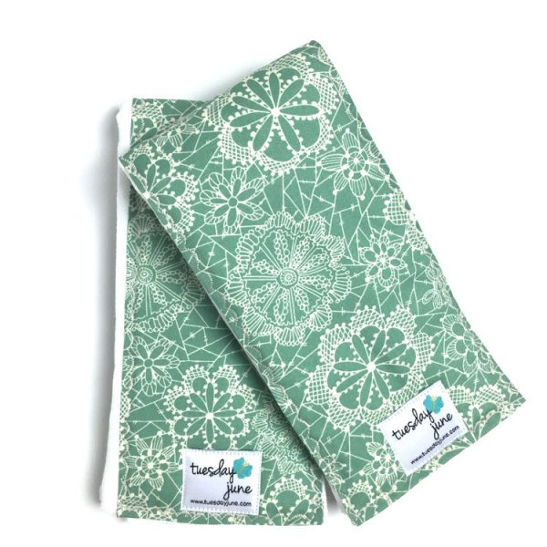 Dandelion - Seafoam Green Floral Lace Burp Cloths
