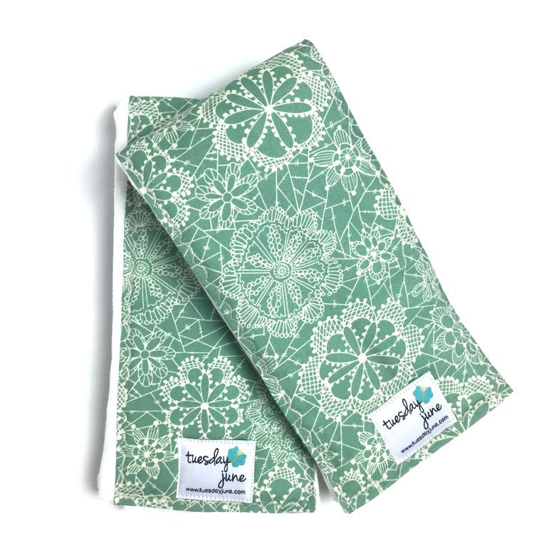 Dandelion – Seafoam Green Floral Lace Burp Cloths