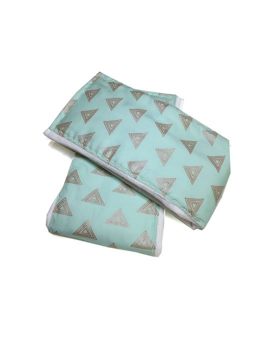 Mint Gold Triangle Burp Cloths