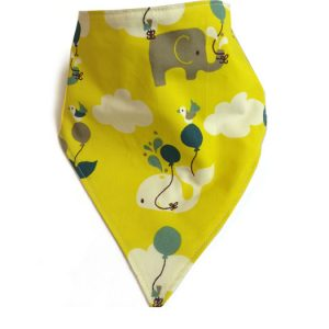Organic Bandana Bib Elephant Yellow