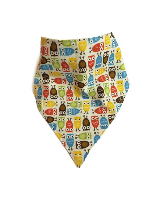 Mini Owl Bandana Bib Brown