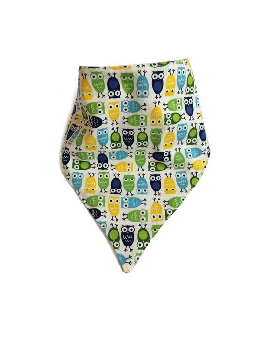 Mini Owl Bandana Bib Green
