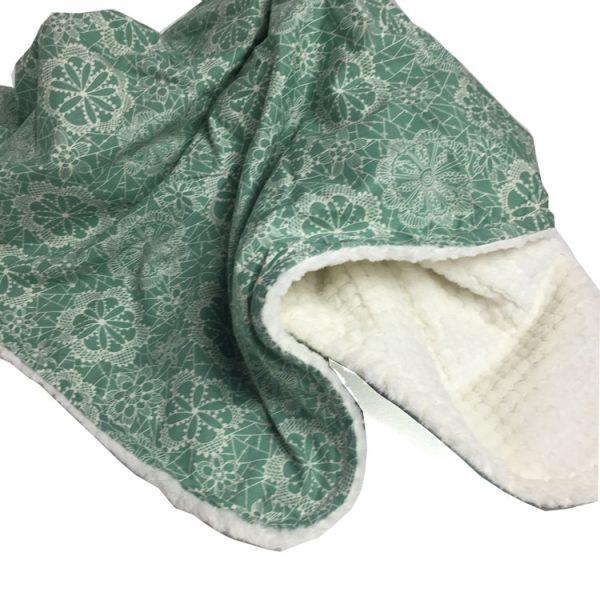 Dandelion - Seafoam Green Floral Lace Baby Blanket