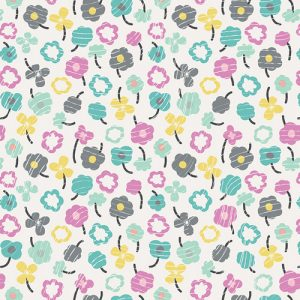 Bloom - Teal Petite Posy Fitted Crib Sheet