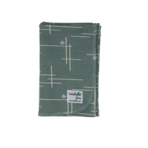 Mineral Green Starburst Organic Knit Swaddle Blanket