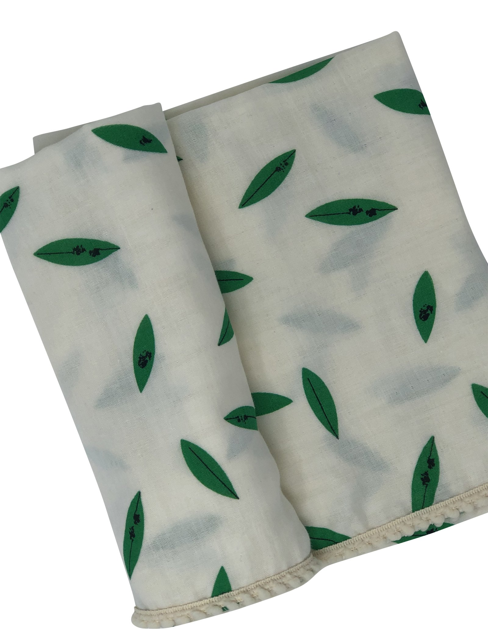 Green Botanical Leaves Organic Muslin Swaddle