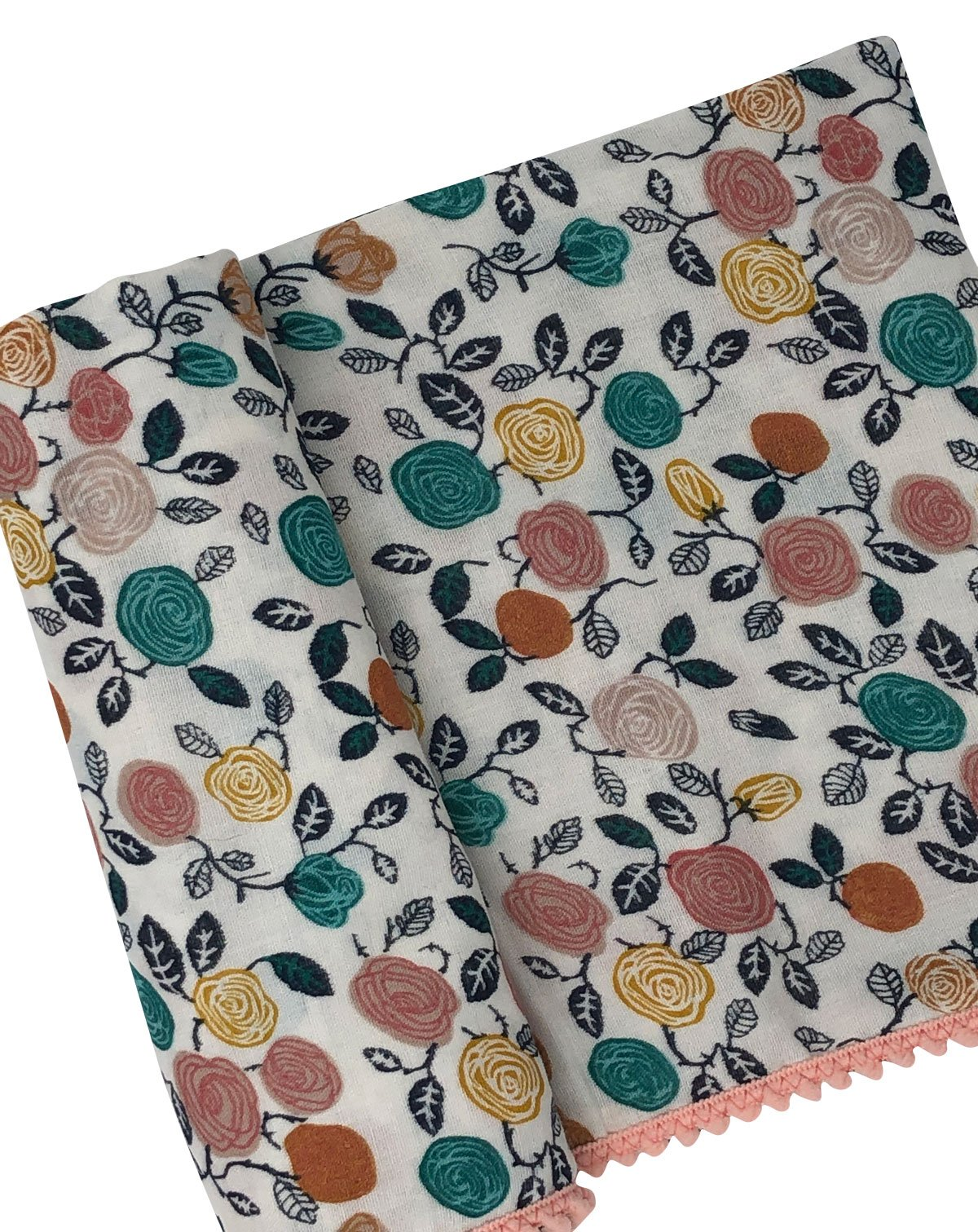Multicolor Rose Organic Muslin Swaddle