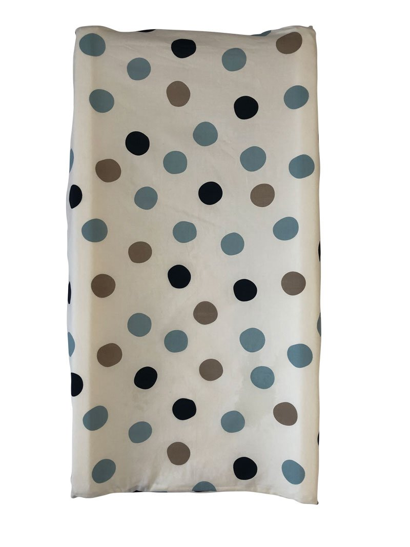Stormy Blue Dot Organic Changing Pad Cover