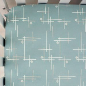 Mineral Green Starburst Organic Fitted Crib Sheet