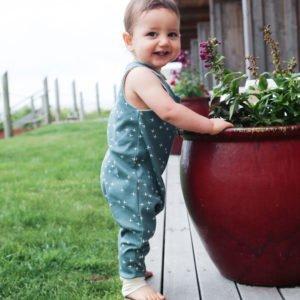 Slate Green Twinkle Organic Sleeveless Romper